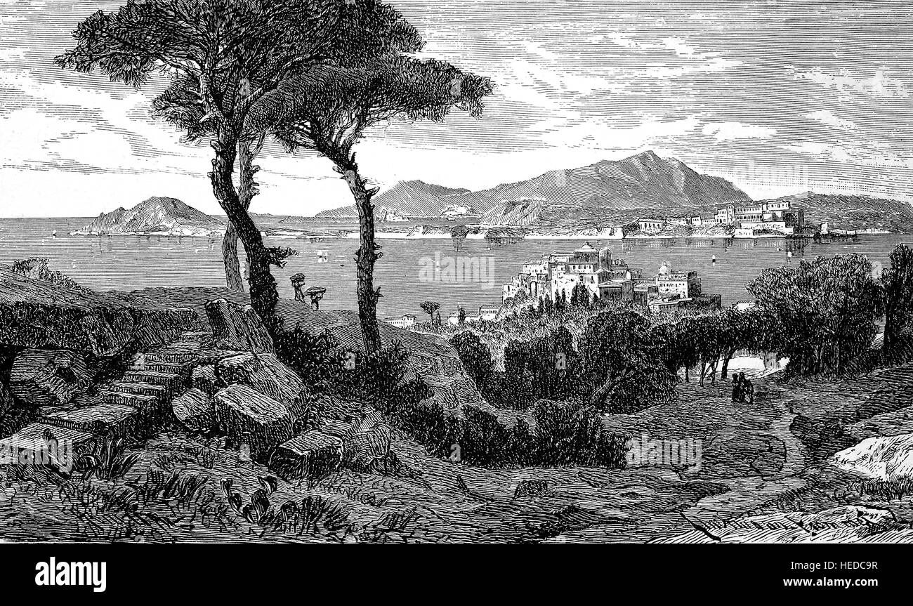 Pozzuoli and the Gulf of Baja, now Gulf of Naples, Italy, from a woodcut of 1880, digital improved - Stock Image