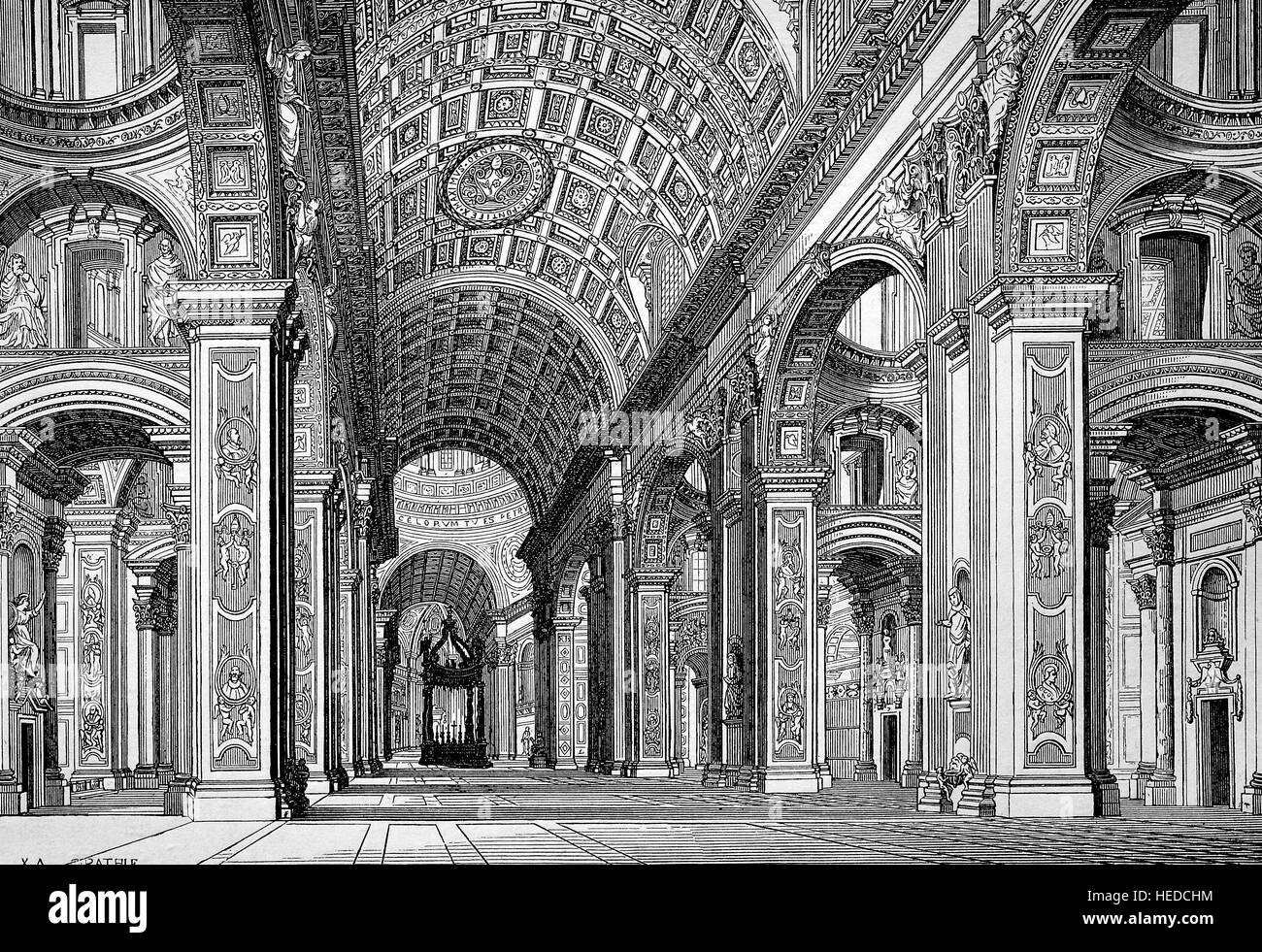 Inside the Papal Basilica of St. Peter in the Vatican or simply St. Peter's Basilica, an Italian Renaissance - Stock Image