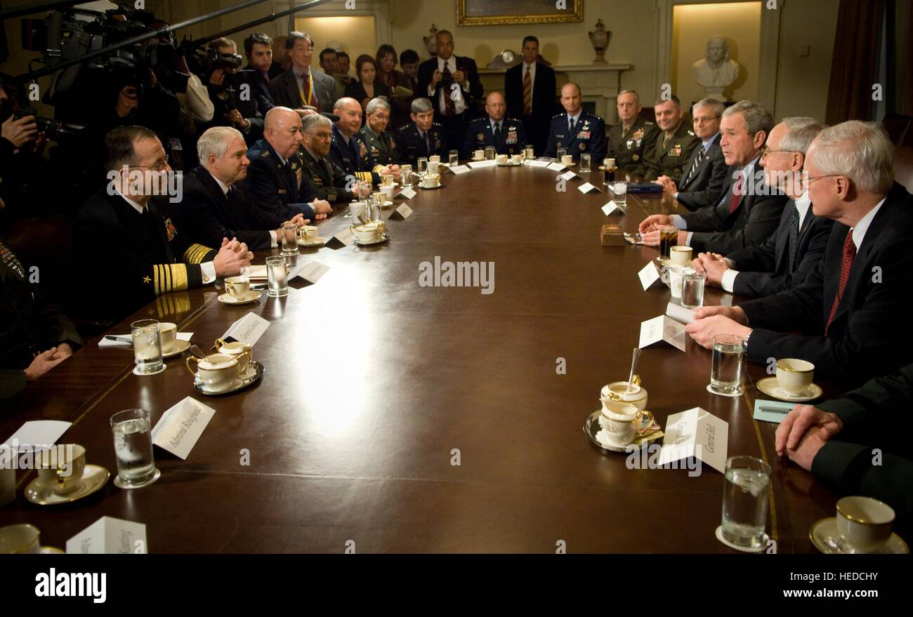 U.S. President George W. Bush hosts a strategic military meeting with military combatant commanders and leaders - Stock Image