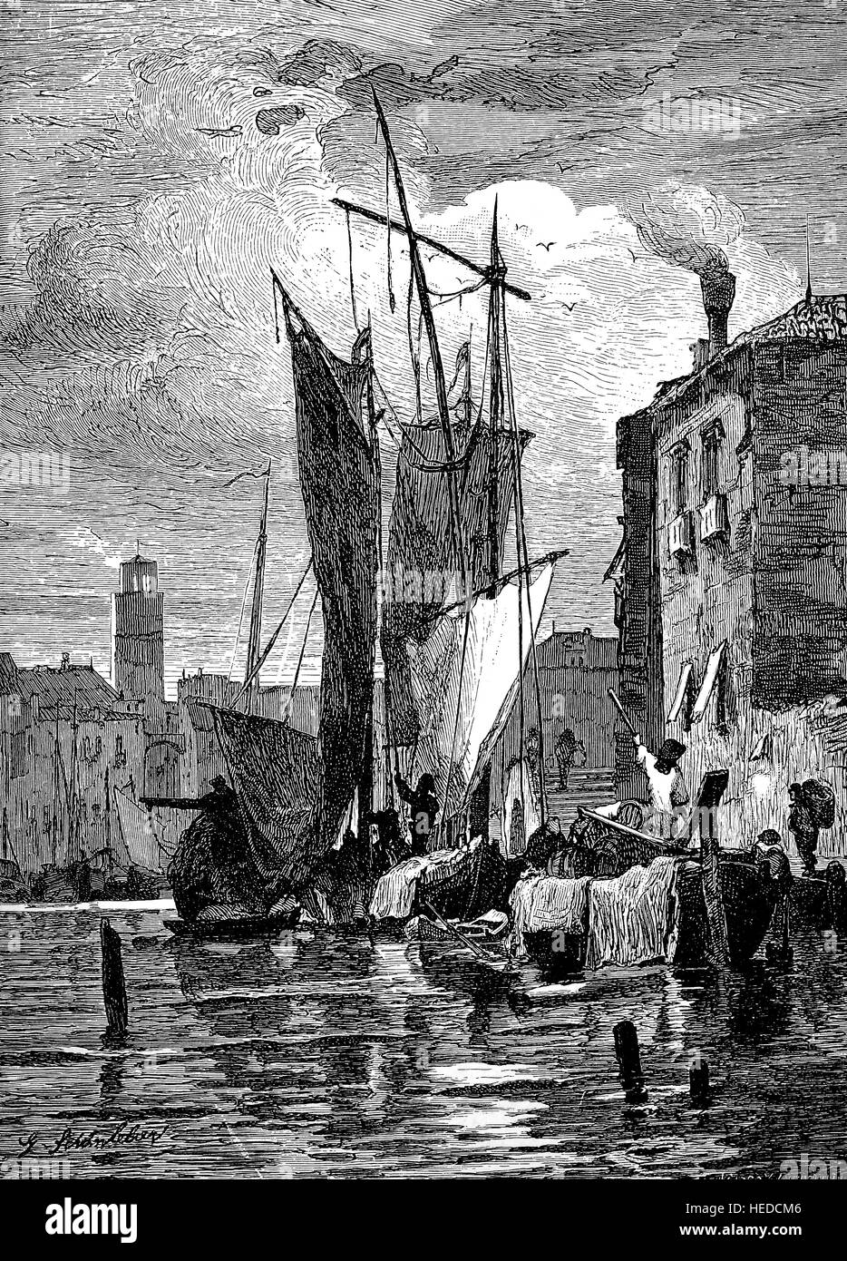 At the island of Giudecca in the Venetian Lagoon, Italy, Harbor scenes, from a woodcut of 1880, digital improved - Stock Image