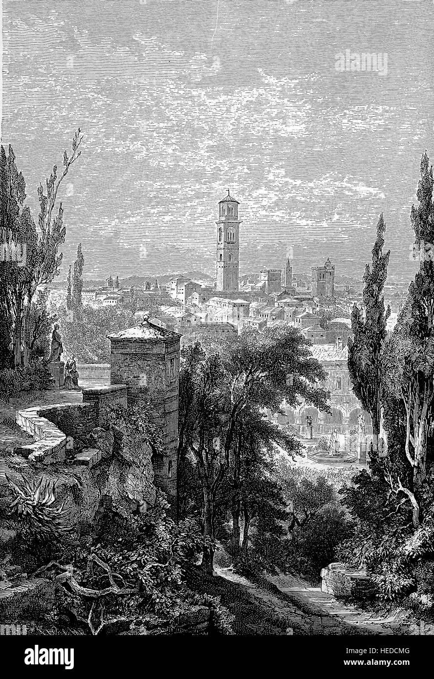 Part of Giardino Giusti in Verona, view of the city from a hill, Italy, from a woodcut of 1880, digital improved - Stock Image