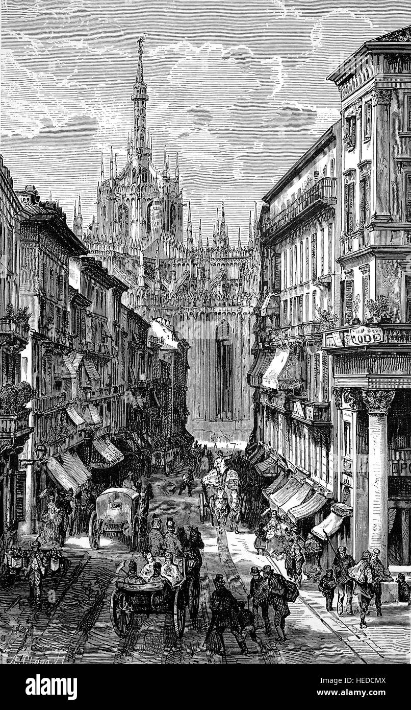 Street scene in Corso Vittorio Emanuele and the view of the cathedral in Milan, Italy, from a woodcut of 1880, digital - Stock Image