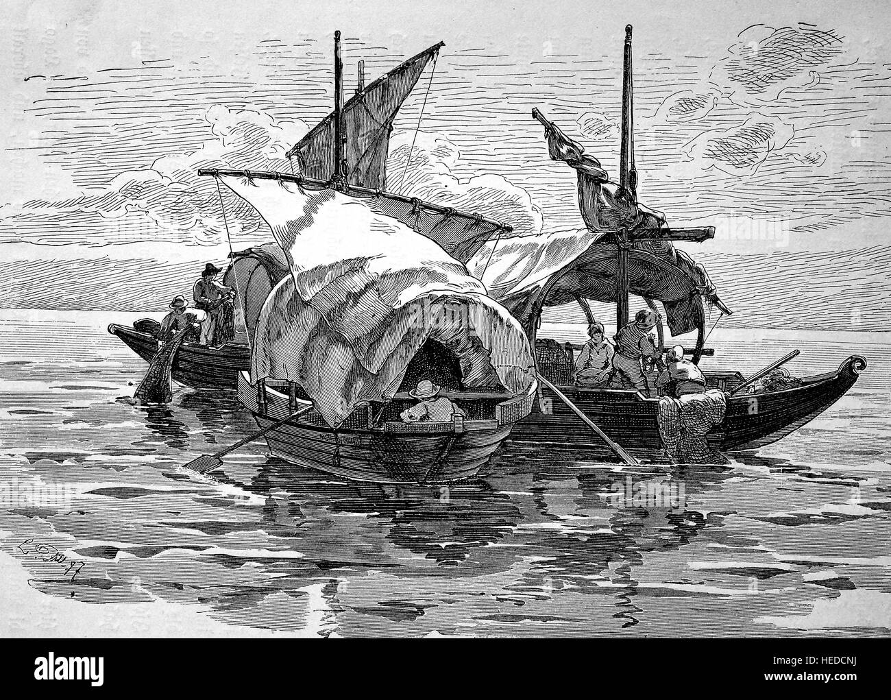 Fishing boats or Fischerbarken on Lake Maggiore, Italy, from a woodcut of 1880, digital improved Stock Photo
