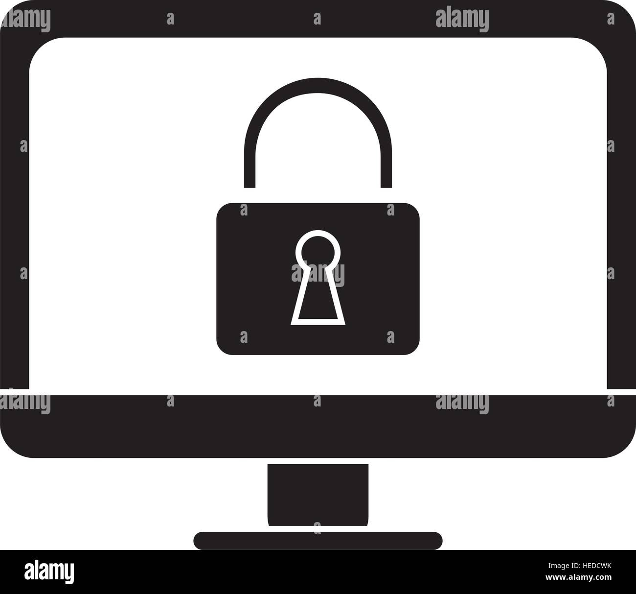 silhouette computer internet security system technology - Stock Image