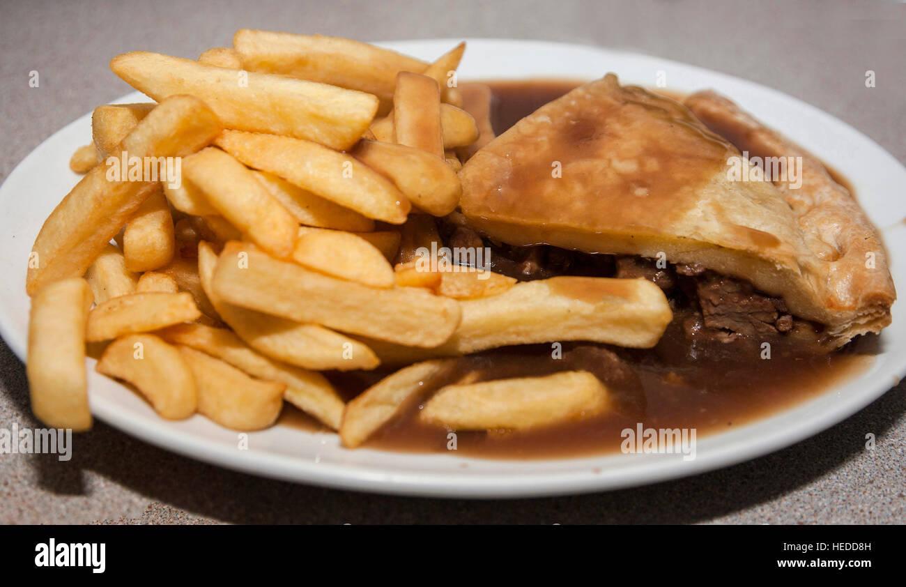 Steak Pie, chips and gravy Stock Photo: 129373569 - Alamy