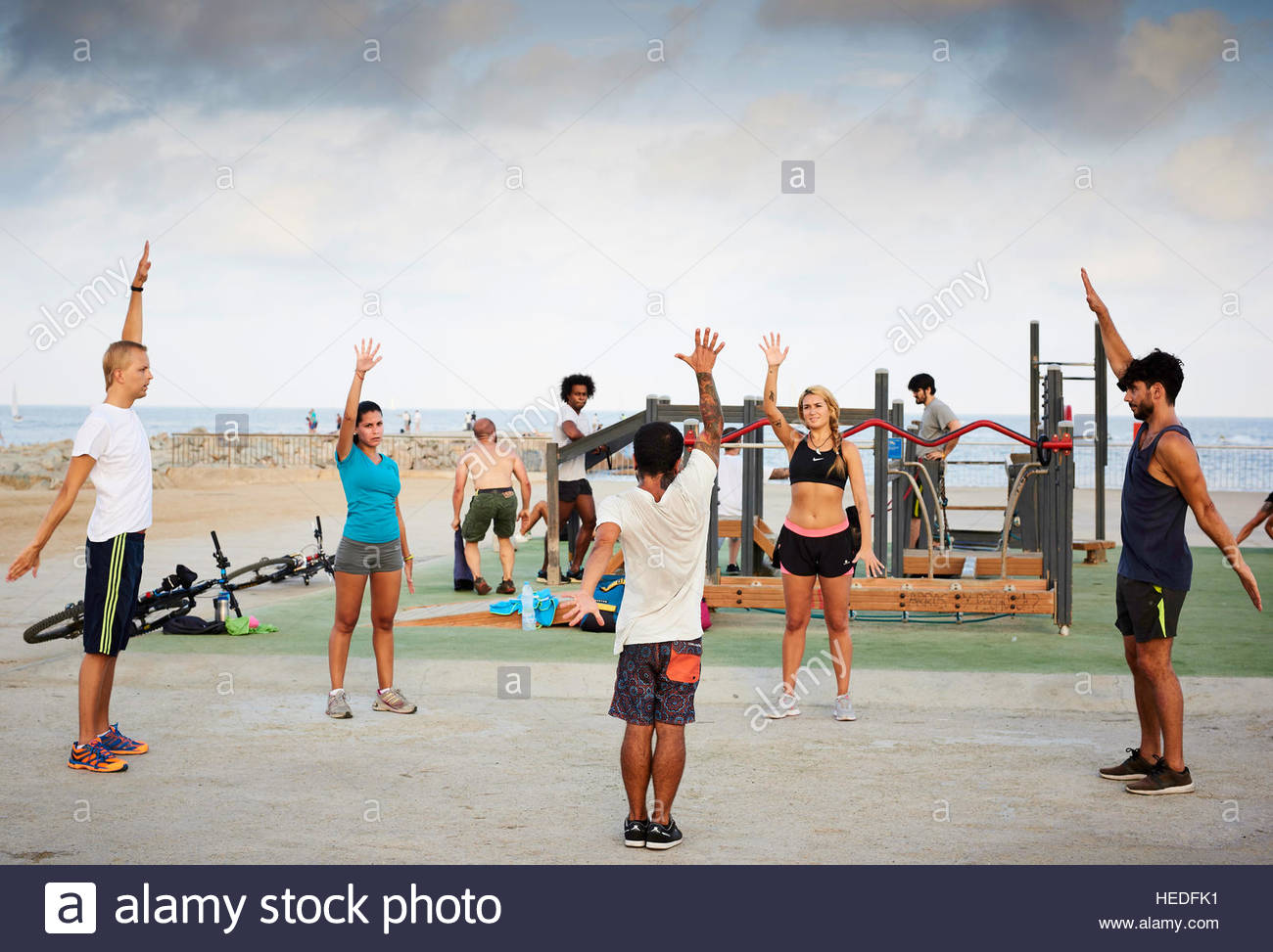 Excercise class at  Beach  in Barcelona in Catalunya in Spain in Europe - Stock Image