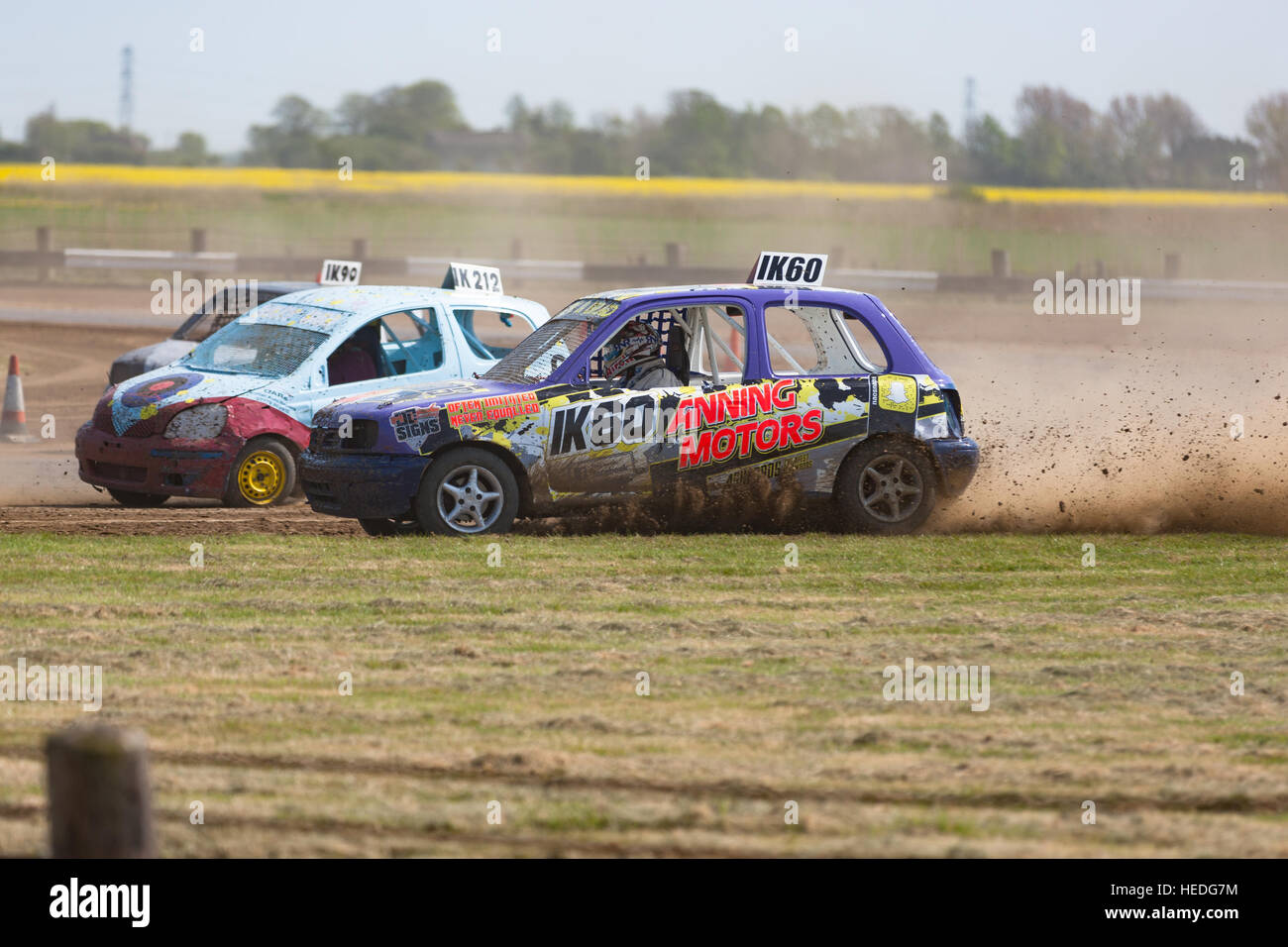 Romney Marsh, Kent, UK. 8th May, 2016. Round 3 of the Autograss racing tournament at the Ivychurch race track. Invicta - Stock Image
