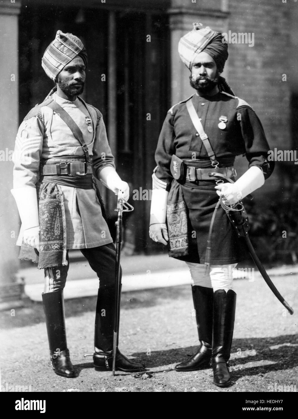 BRITISH INDIA  Two officers of the 1st Madras Lancers in 1893 - Stock Image