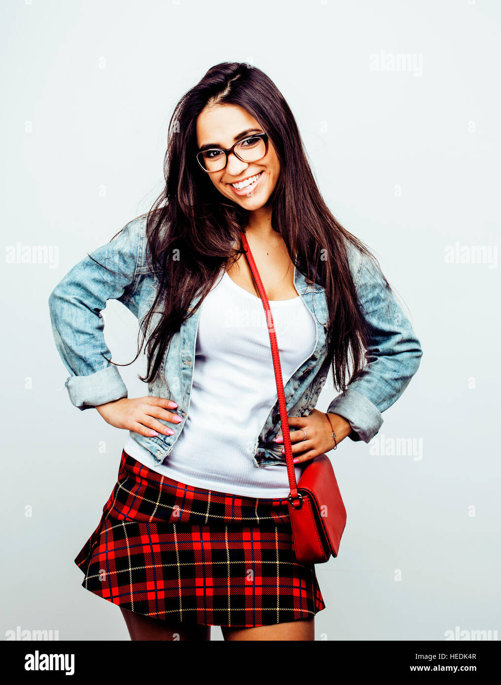 Young Happy Smiling Latin American Teenage Girl Emotional Posing On