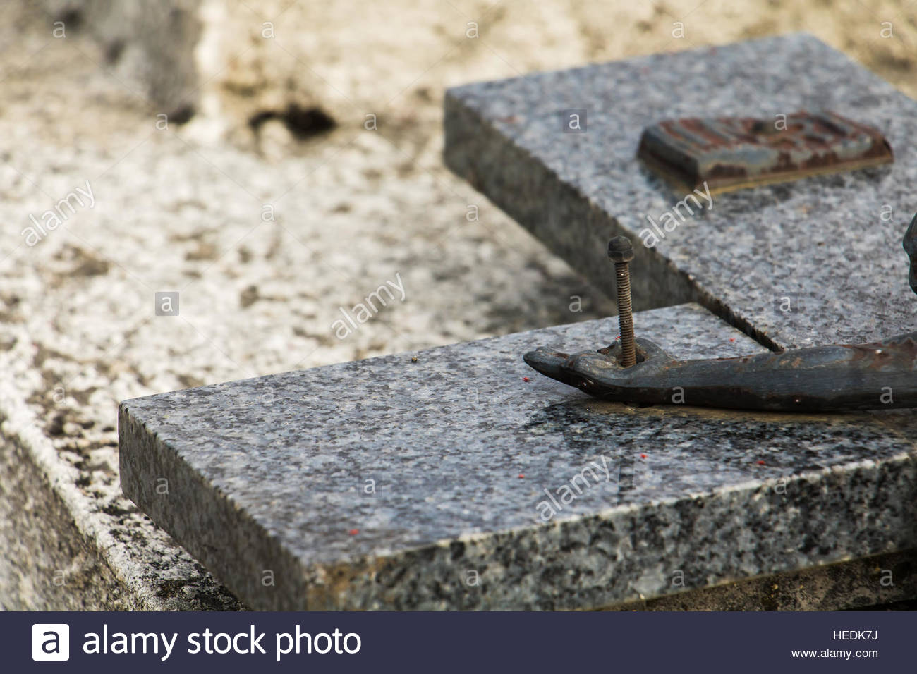 Village of  Rocamadour departement Lot, region Midi-Pyrenees France. Detail View of a Cross on the Cemetery Stock Photo