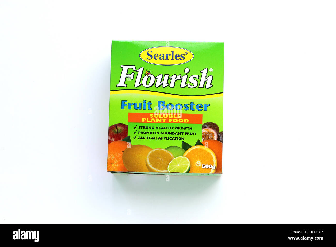 Searles Flourish Fruit Booster liquid and soluble fertilizer isolated against white background - Stock Image