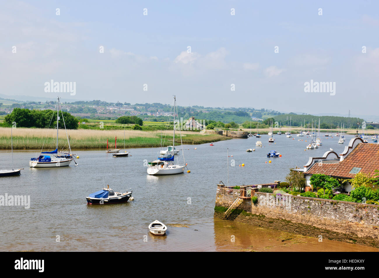 Topsham has increasingly become a desirable and high-value residential location.It is an attractive town on the - Stock Image