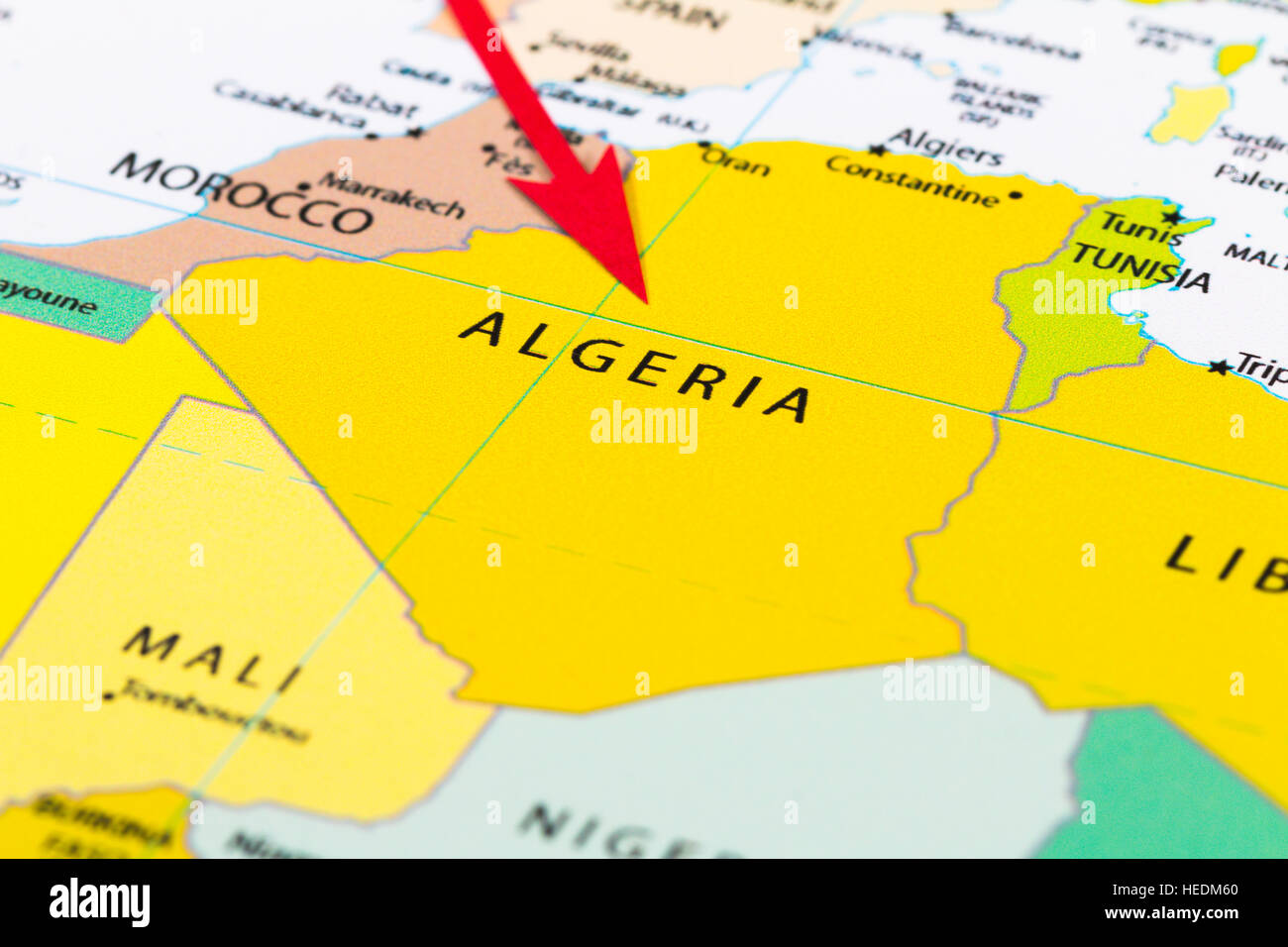 Red Arrow Pointing Algeria On The Map Of Africa Continent Stock