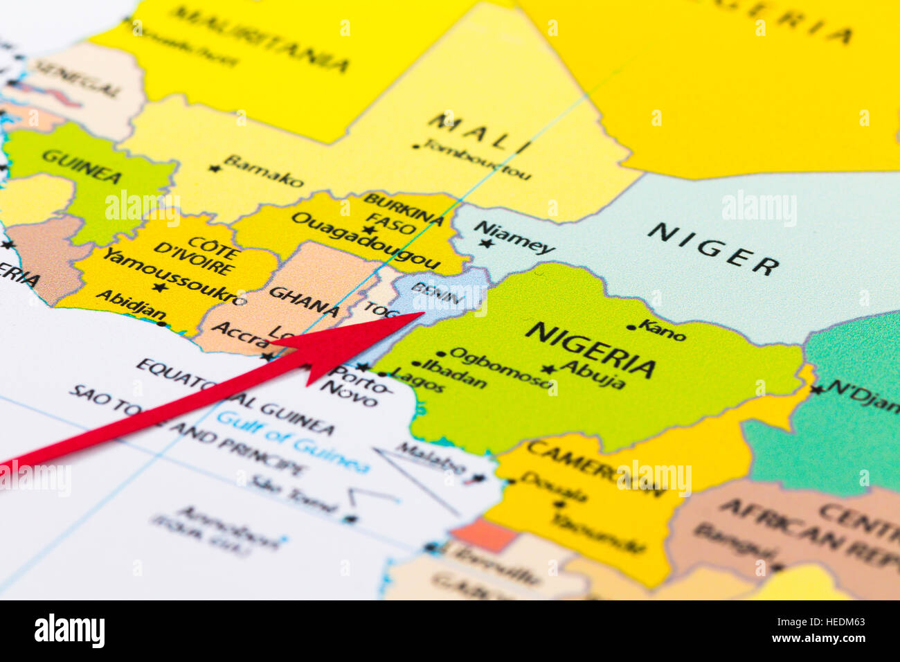 Red arrow pointing Benin on the map of Africa continent Stock Photo ...