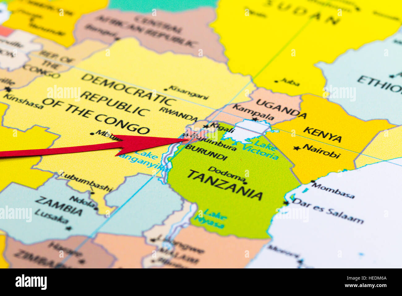 Red arrow pointing Burundi on the map of Africa continent Stock
