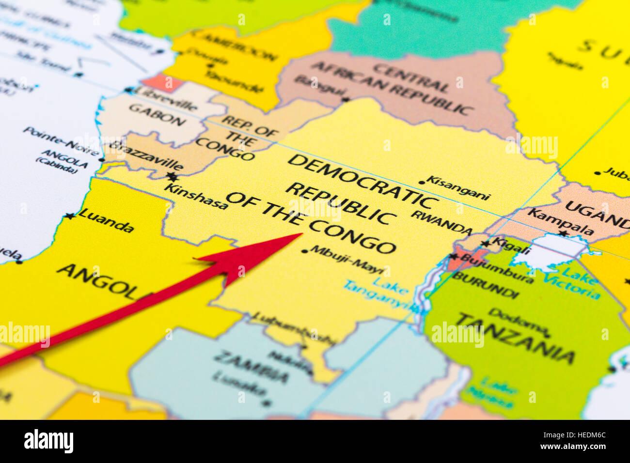 Democratic Republic Congo Africa Map Stock Photos & Democratic ... on