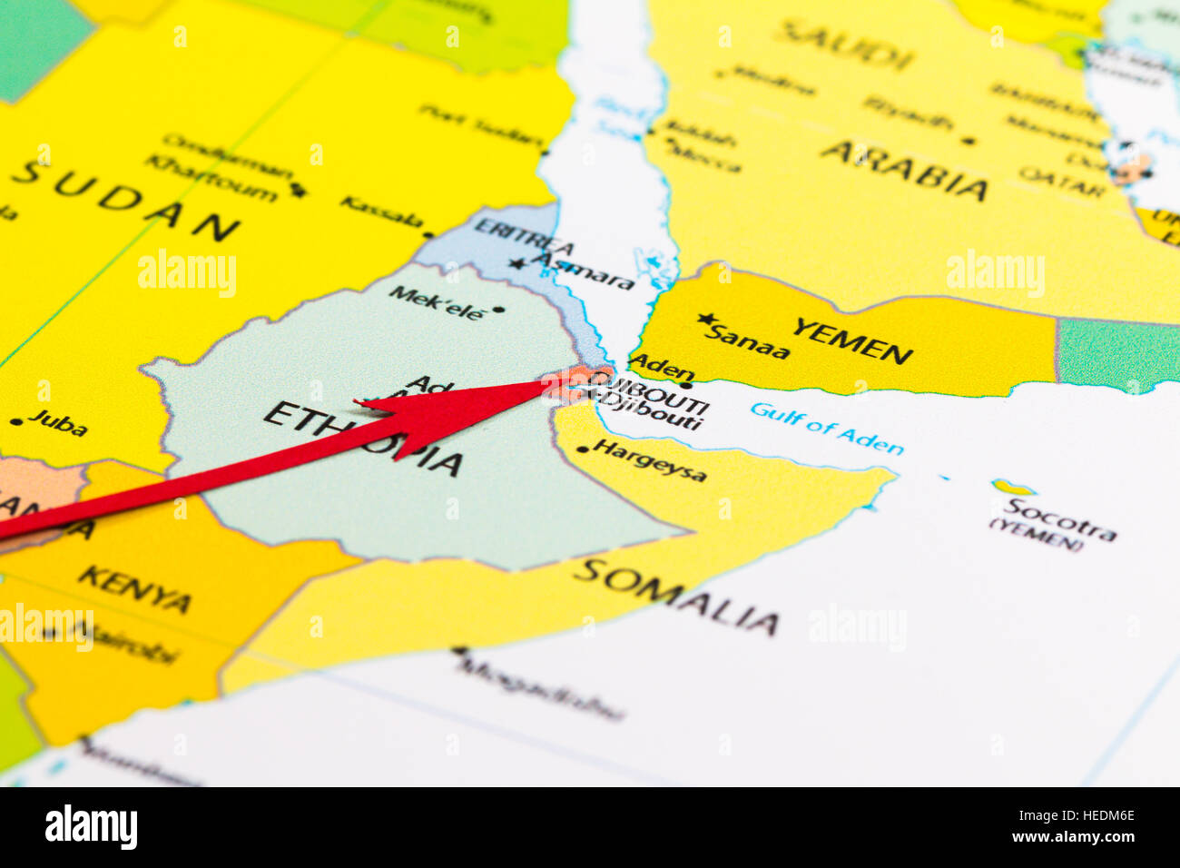 Djibouti On Africa Map.Red Arrow Pointing Djibouti On The Map Of Africa Continent Stock