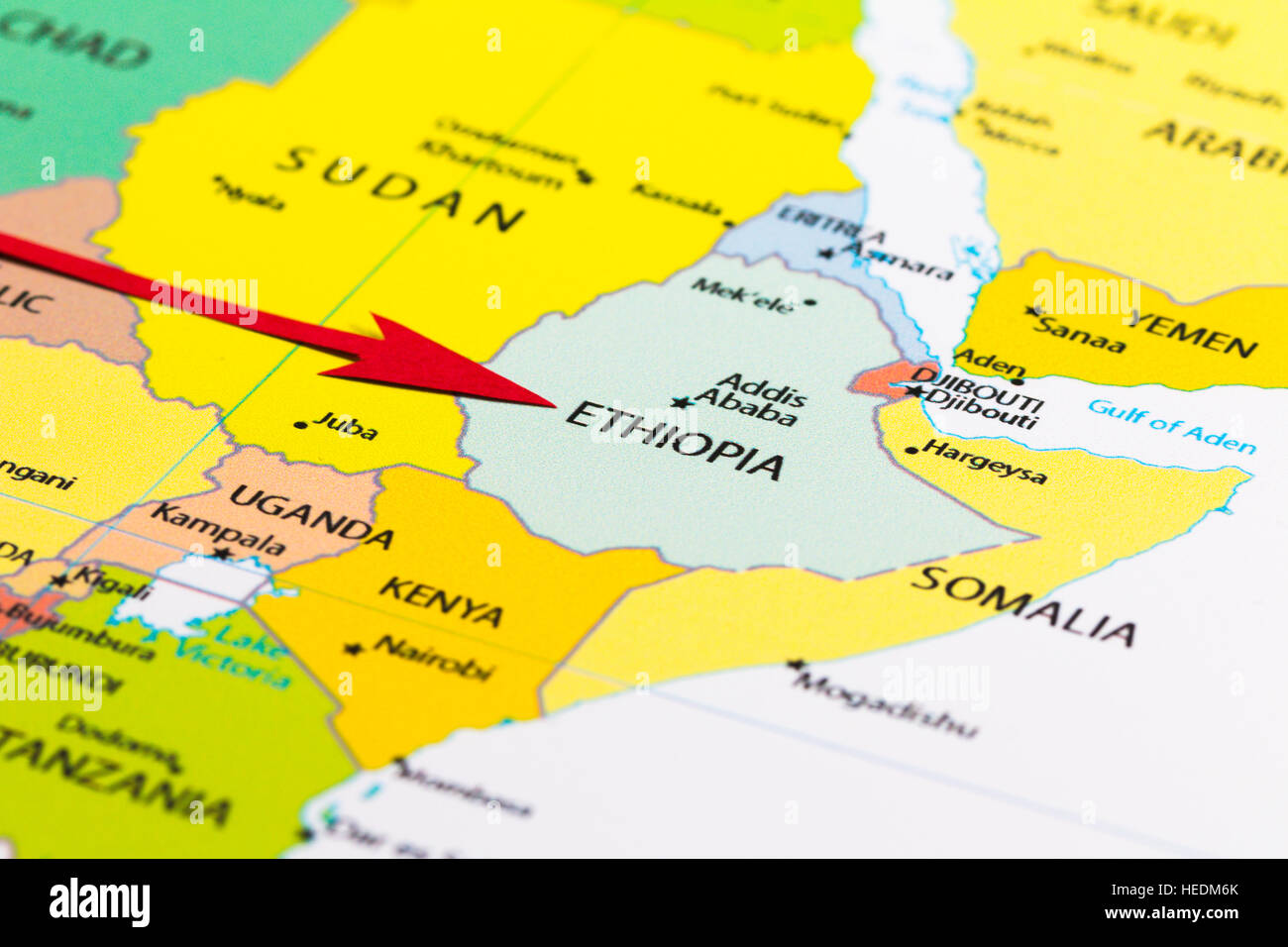 Red arrow pointing Ethiopia on the map of Africa continent Stock ...