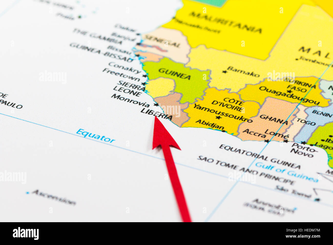 Image of: Red Arrow Pointing Liberia On The Map Of Africa Continent Stock Photo Alamy