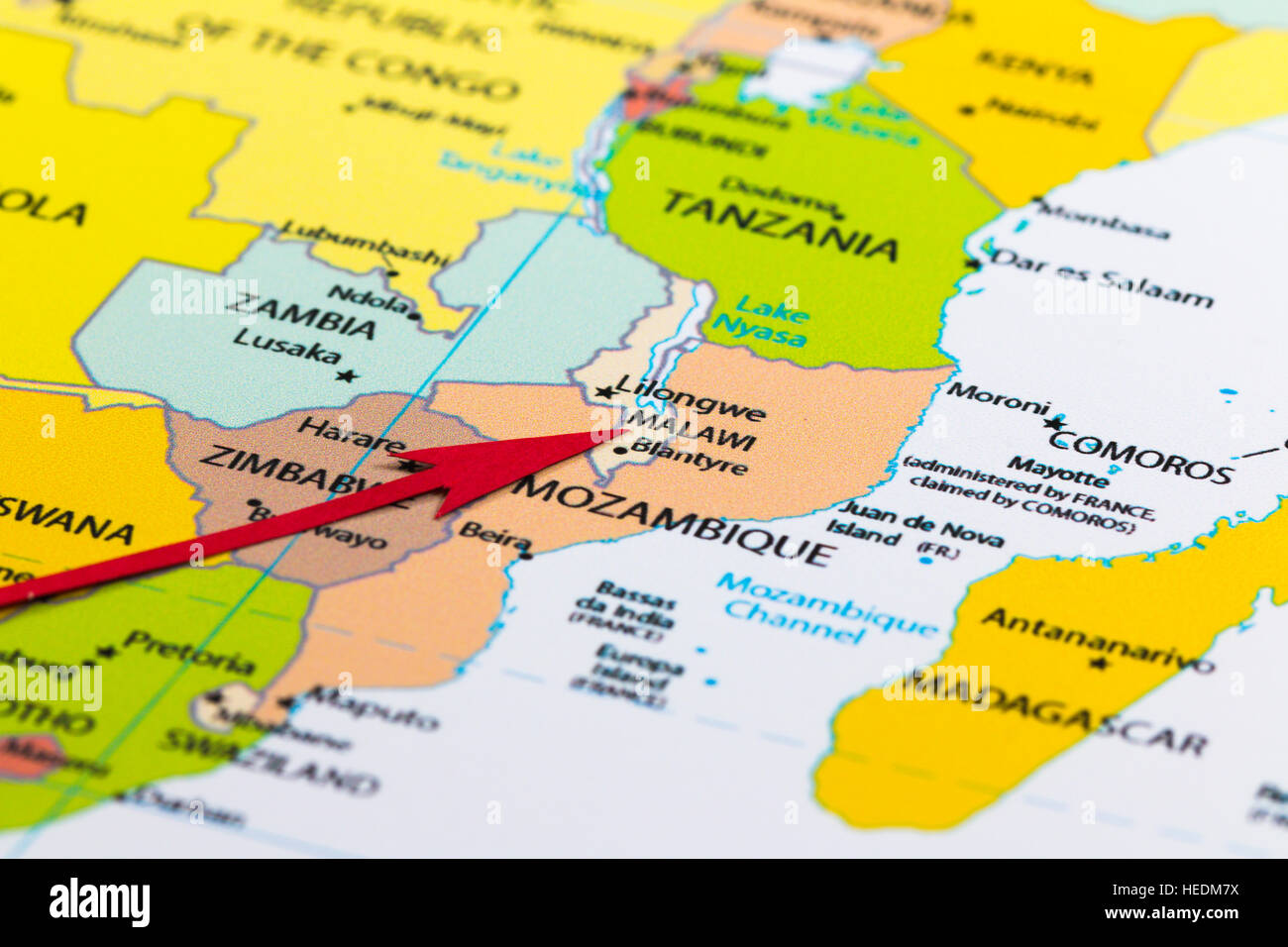 Malawi On Africa Map.Red Arrow Pointing Malawi On The Map Of Africa Continent Stock Photo