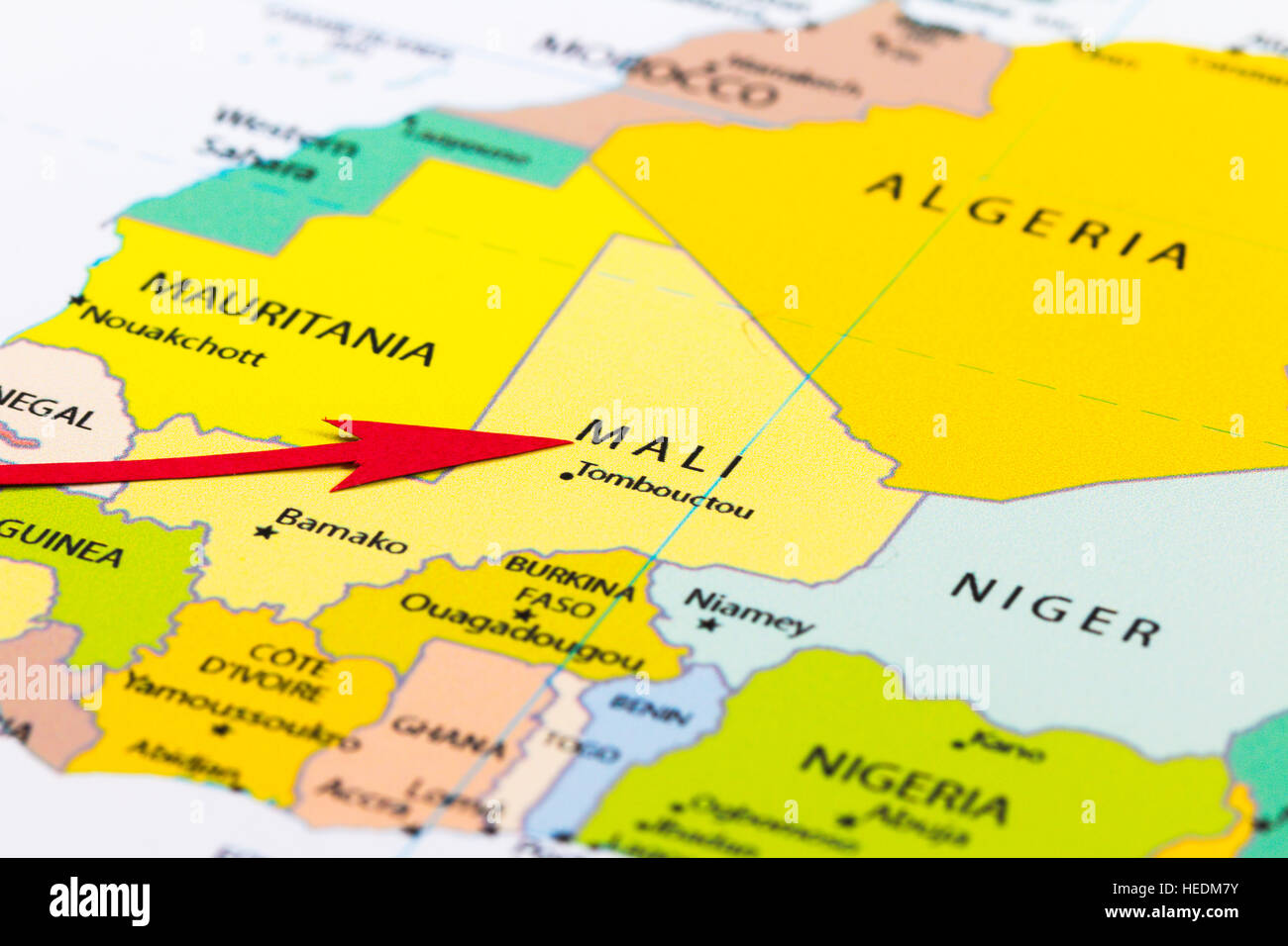 Red Arrow Pointing Mali On The Map Of Africa Continent Stock Photo