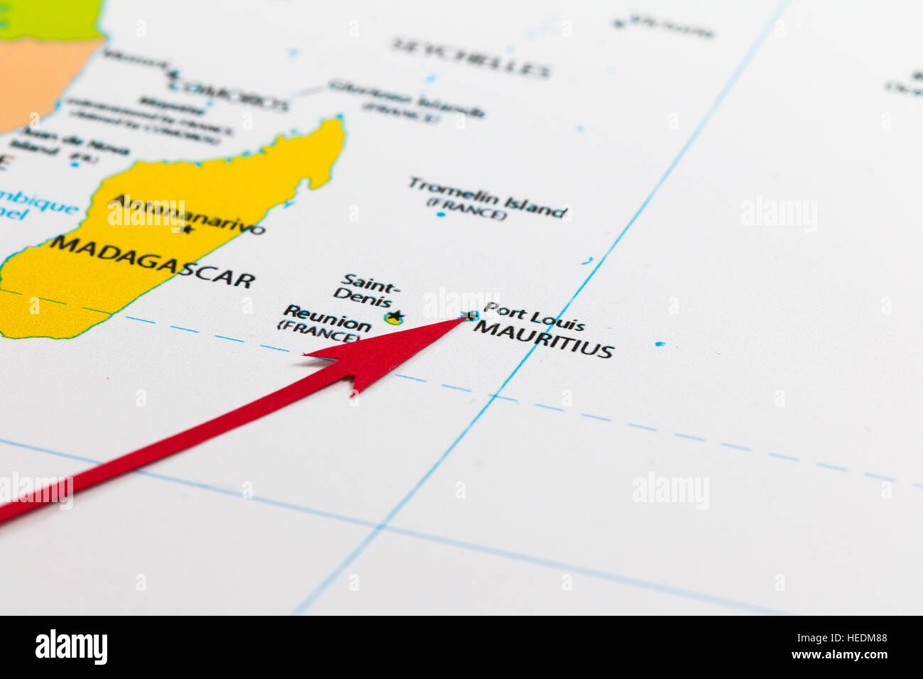 red arrow pointing mauritius on the map of africa continent stock image