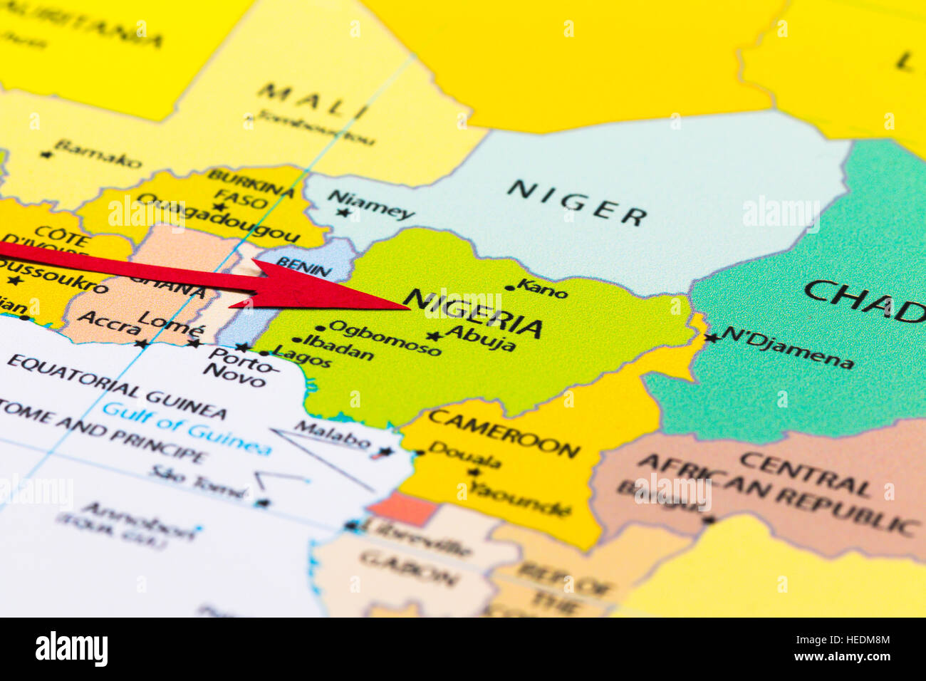 Africa Map Nigeria.Red Arrow Pointing Nigeria On The Map Of Africa Continent Stock