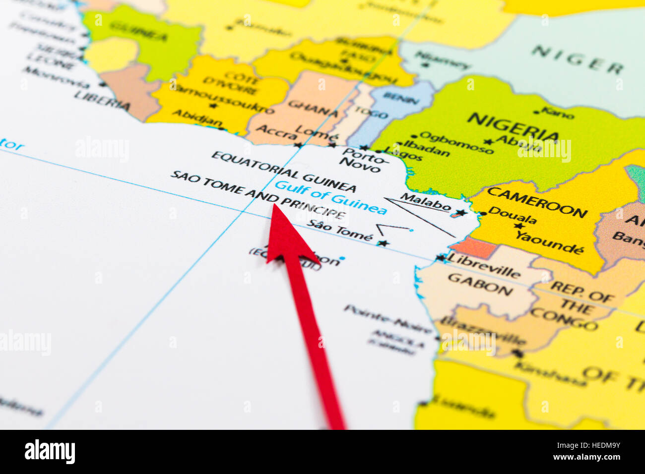 Red arrow pointing Sao Tome and Principe on the map of Africa Stock