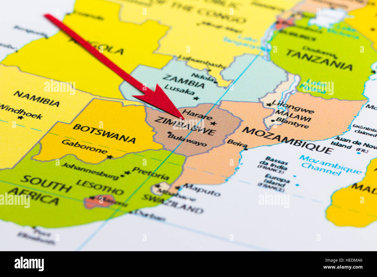 Map africa zimbabwe stock photos map africa zimbabwe stock images red arrow pointing zimbabwe on the map of africa continent stock image ccuart Image collections