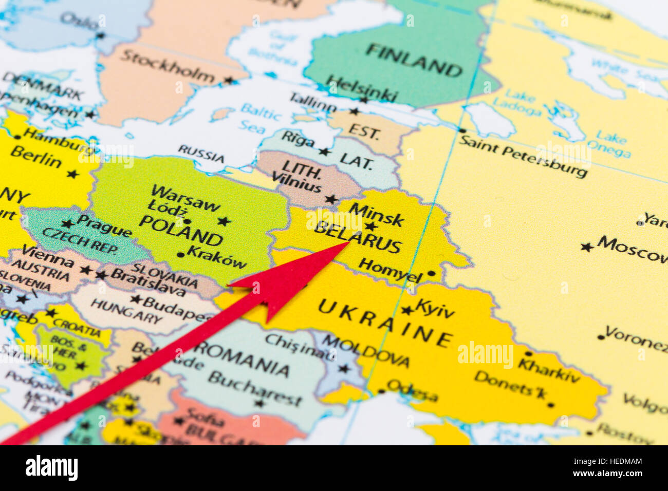 Red arrow pointing belarus on the map of europe continent stock red arrow pointing belarus on the map of europe continent gumiabroncs Choice Image