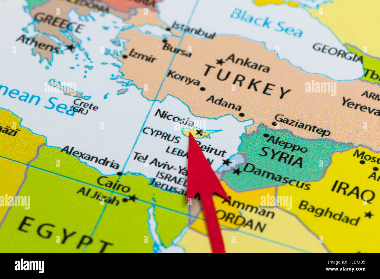 Red arrow pointing Cyprus on the map of Europe continent Stock Photo