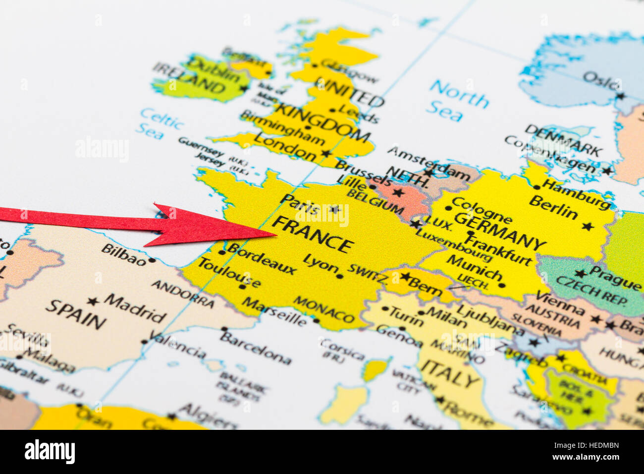 France On The Map Of Europe.Red Arrow Pointing France On The Map Of Europe Continent Stock Photo