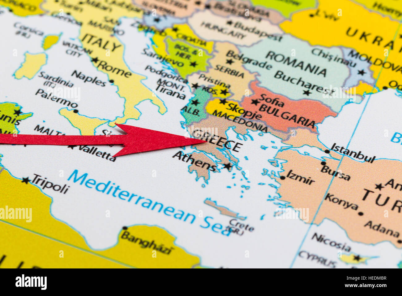 Red Arrow Pointing Greece On The Map Of Europe Continent Stock Photo
