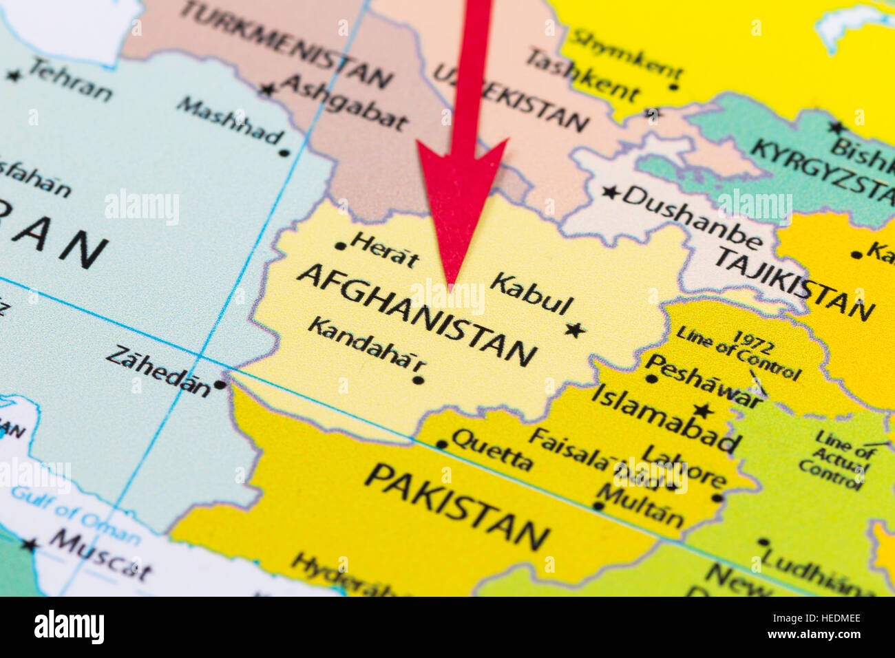 Red arrow pointing Afghanistan on the map of Asia continent Stock ...