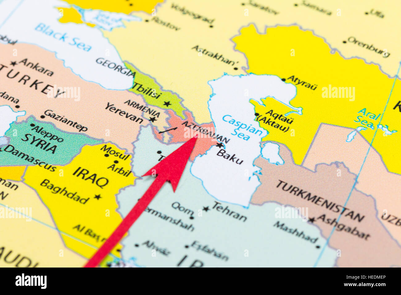 Red arrow pointing Azerbaijan on the map of Asia continent Stock
