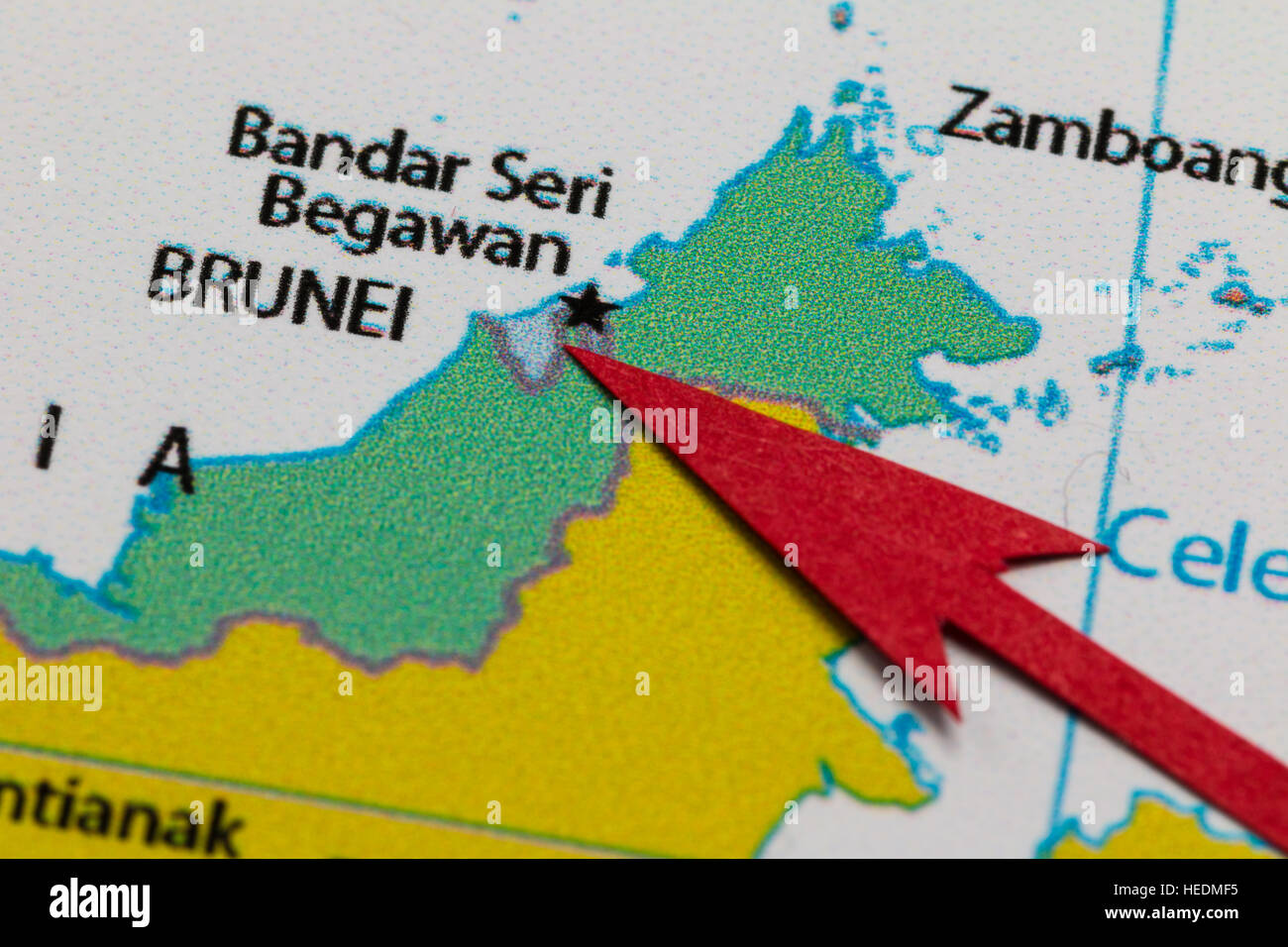 Red Arrow Pointing Brunei On The Map Of Asia Continent Stock Photo