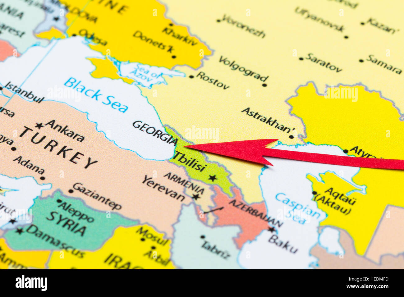 Red arrow pointing Georgia on the map of Asia continent Stock Photo ...