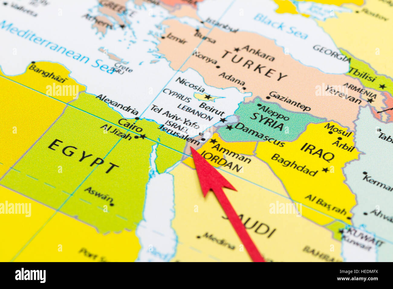 Red arrow pointing Israel on the map of Asia continent Stock Photo