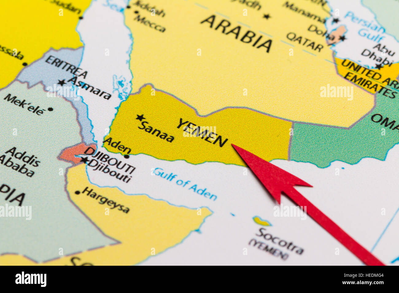 Red arrow pointing Yemen on the map of Asia continent Stock Photo