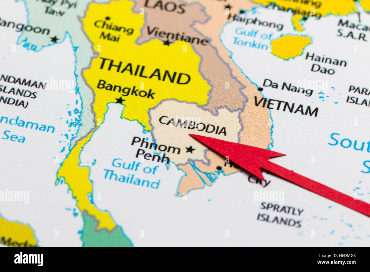 Red arrow pointing Cambodia on the map of Asia continent Stock Photo ...