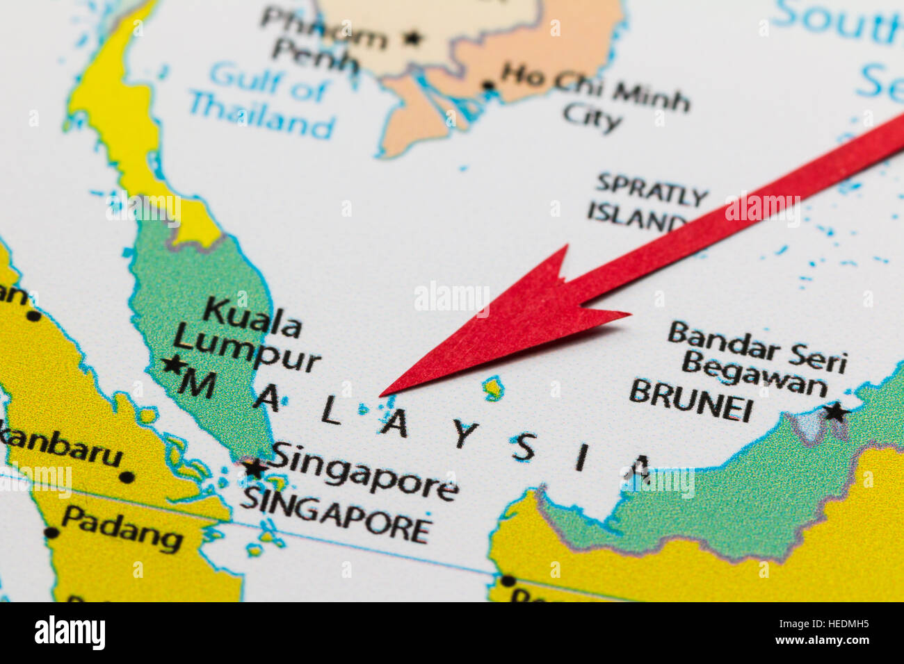 Red arrow pointing Malaysia on the map of Asia continent Stock Photo