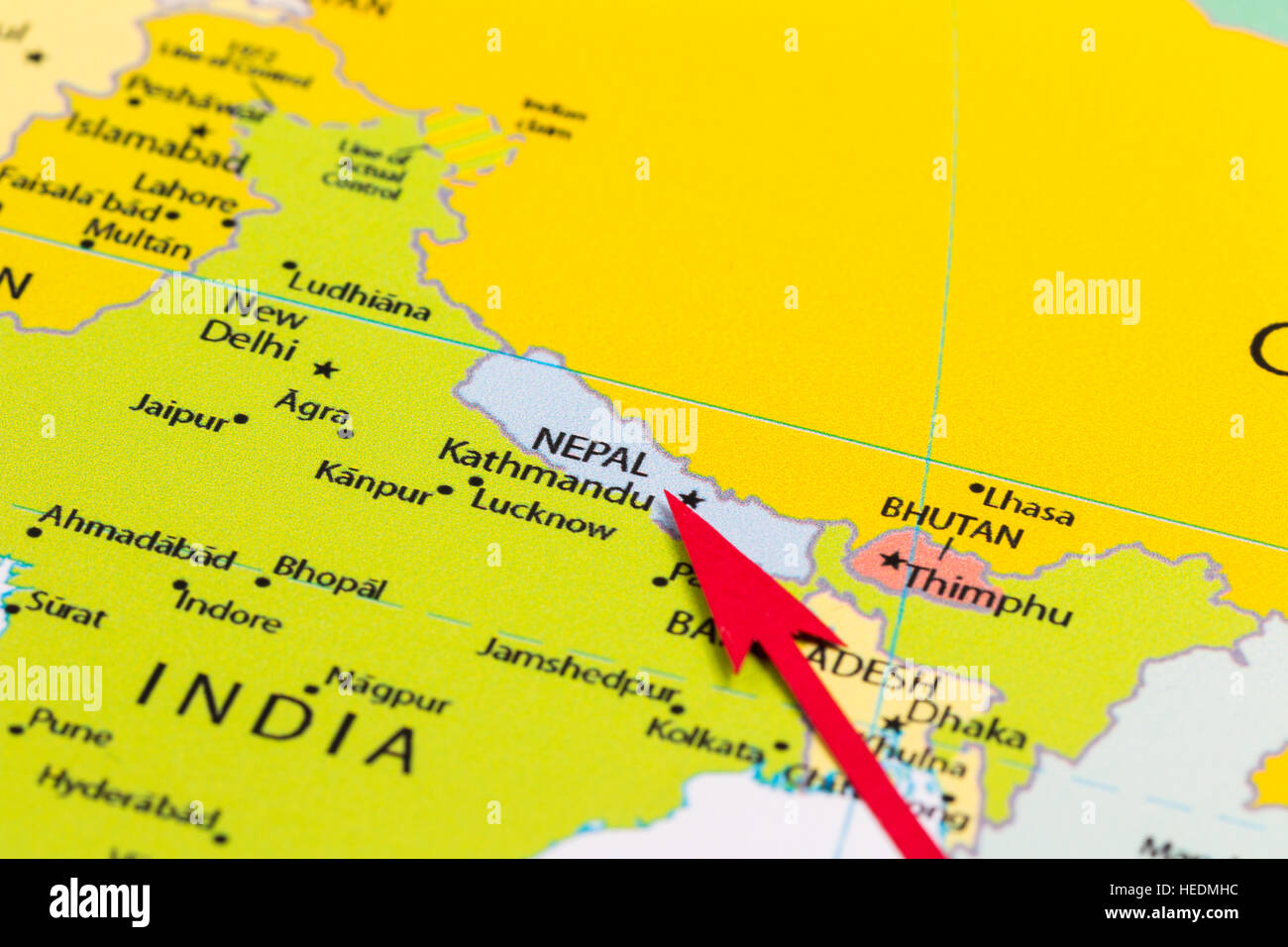 Red arrow pointing Nepal on the map of Asia continent Stock Photo