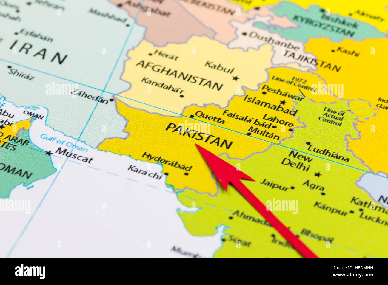 A Map Of Asia.Red Arrow Pointing Pakistan On The Map Of Asia Continent Stock Photo
