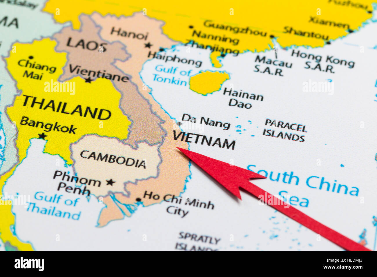 Map Of Asia Gulf Of Tonkin.Red Arrow Pointing Vietnam On The Map Of Asia Continent Stock Photo