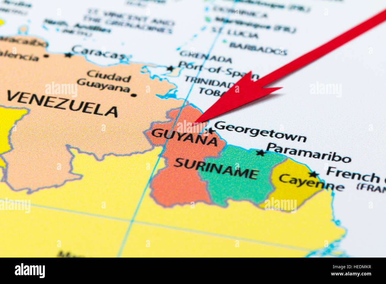 Red arrow pointing Guyana on the map of south America continent ...