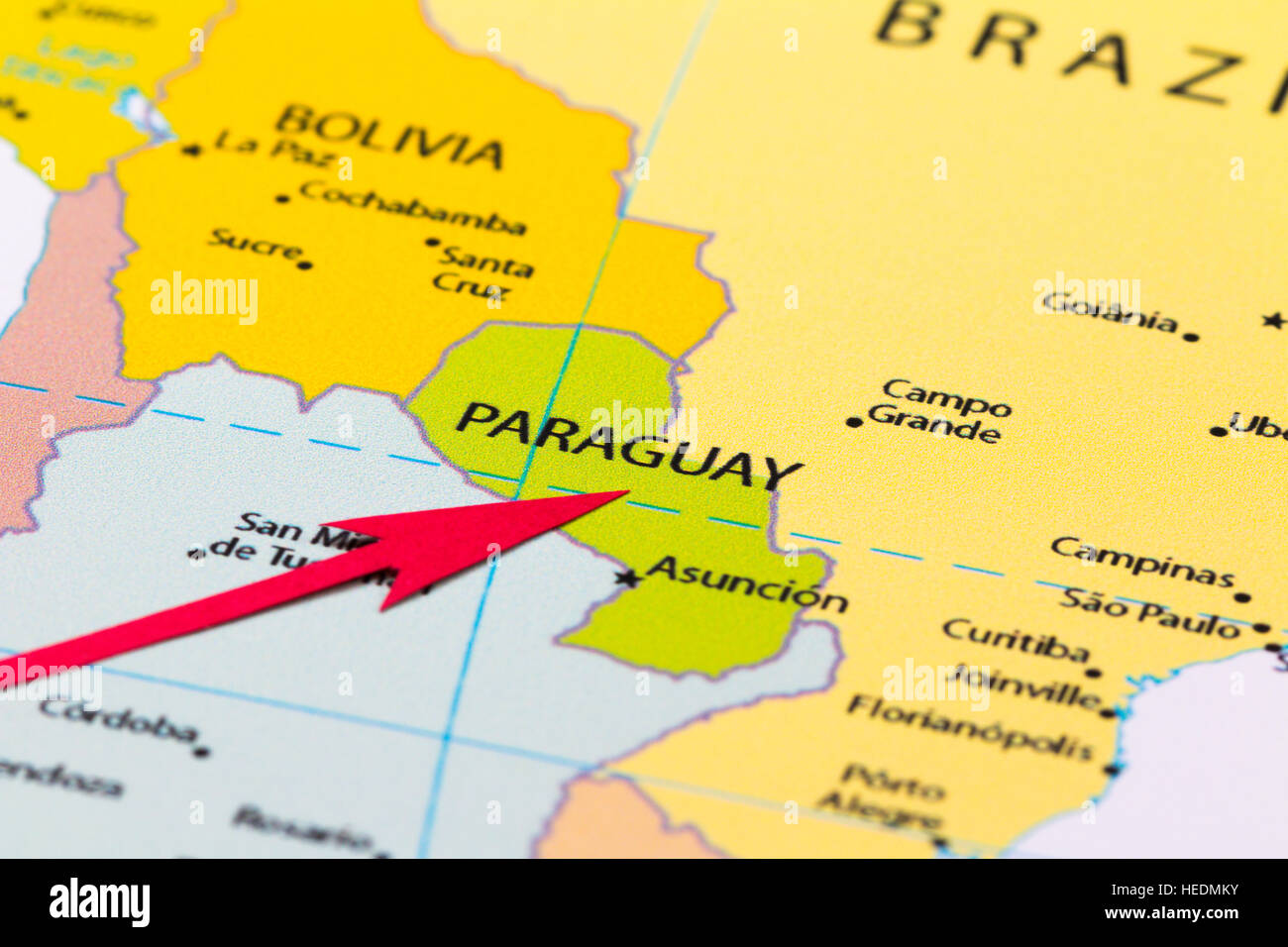 Red arrow pointing Paraguay on the map of south America continent
