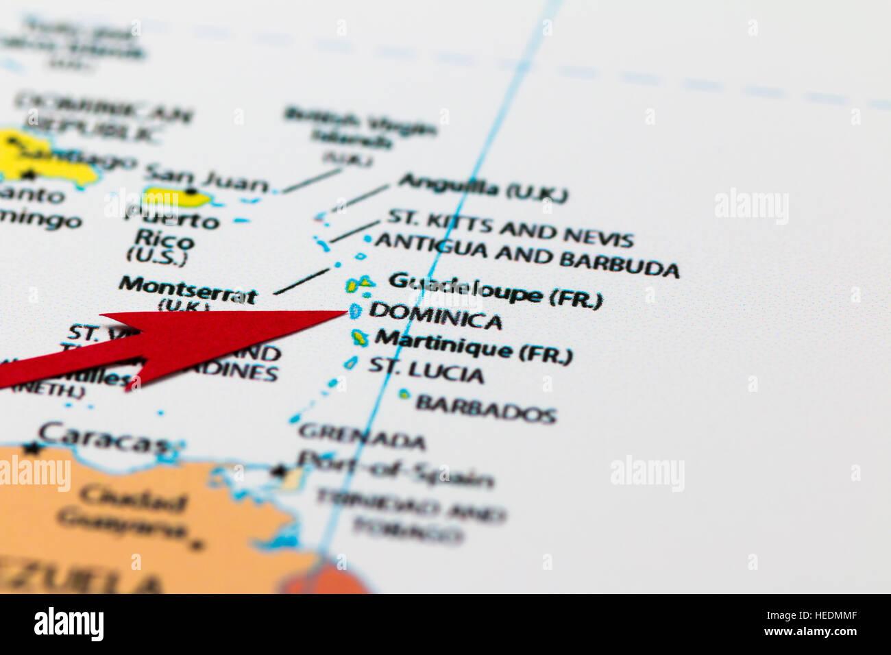 Dominica Print Map Stock Photos & Dominica Print Map Stock