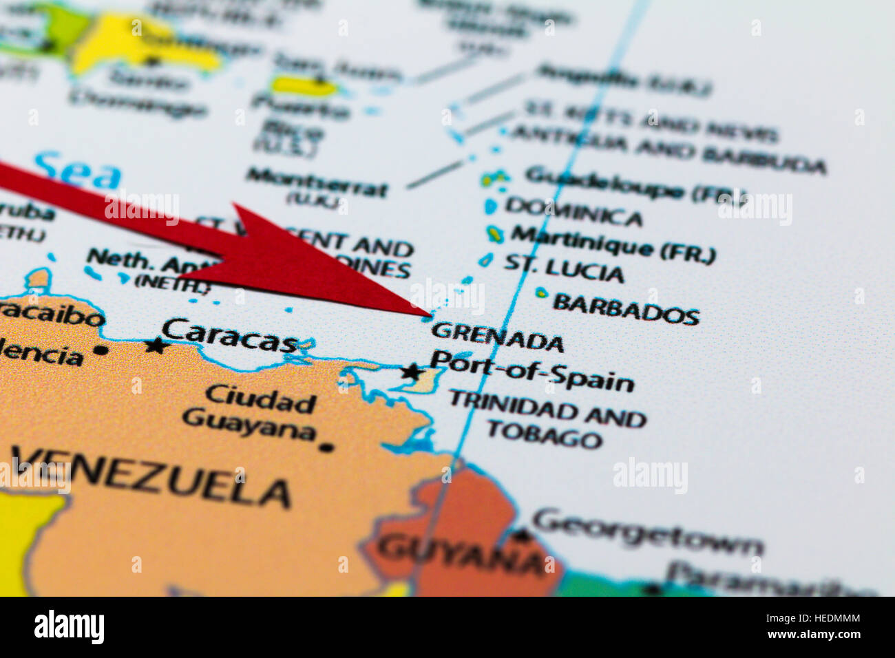 Red arrow pointing Grenada island on the map of south Africa Stock