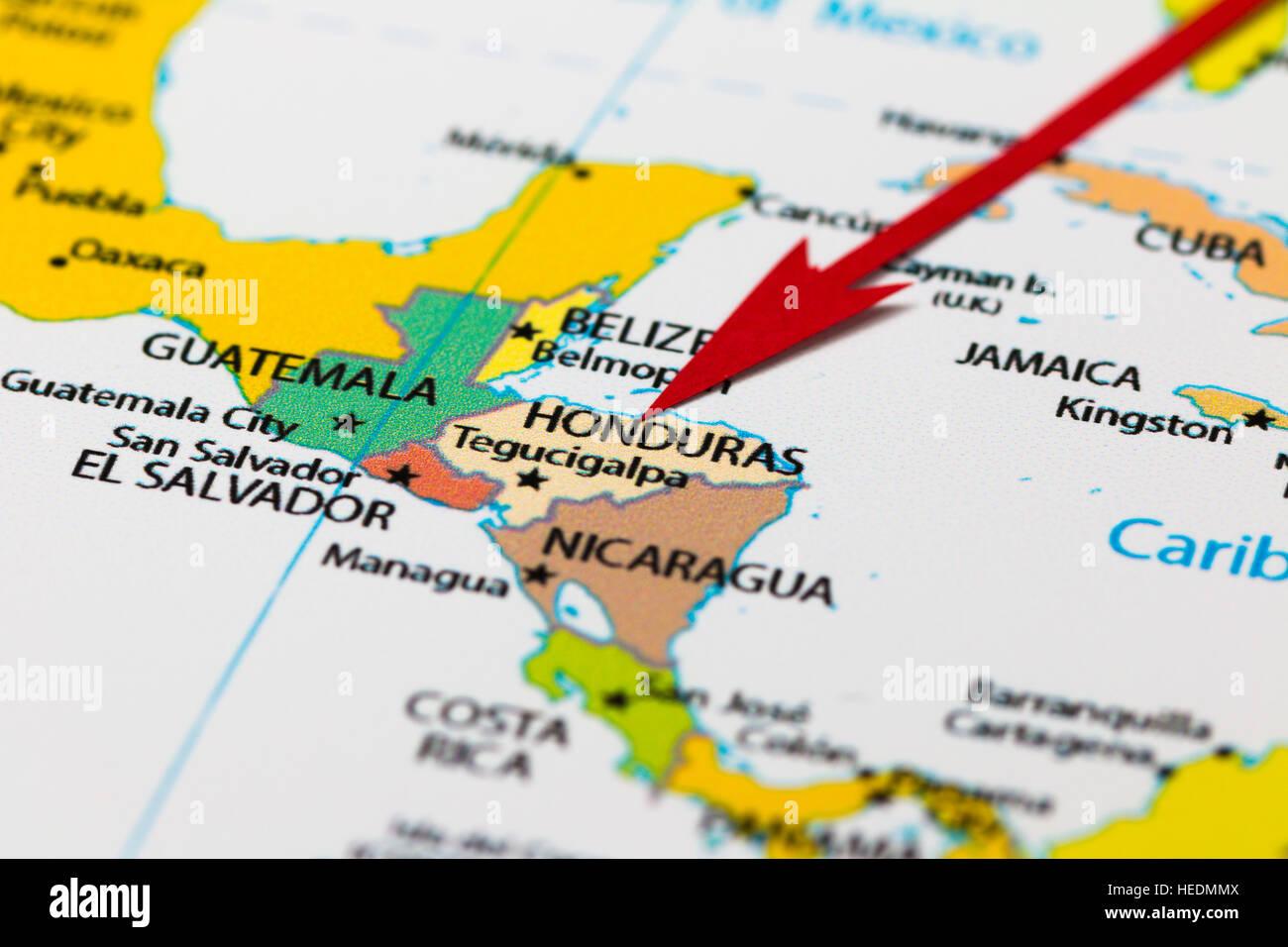 Map Of South America Jamaica.Red Arrow Pointing Honduras On The Map Of South America Continent