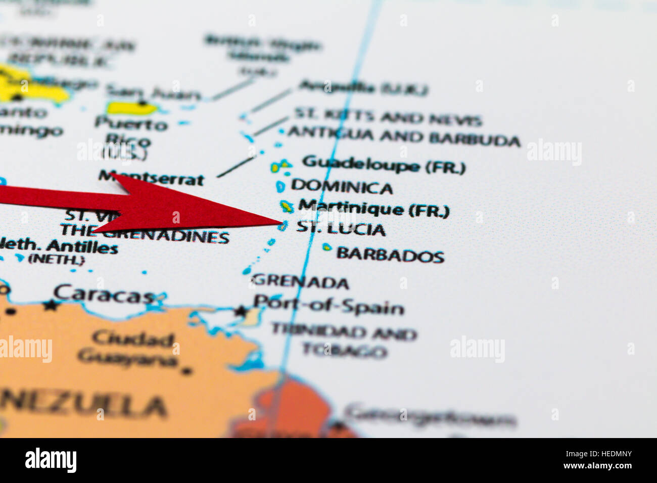 Red arrow pointing St. Lucia island on the map of south America ...